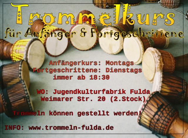 Trommelkurs Anfänger @ Jugendkulturfabrik Fulda